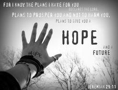 Jeremiah 29:11  One of my favorite verses!