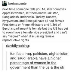 """When a so-called """"third world country"""" is more progressive than the U.S. Benazir Bhutto was a legend. Good job, Pakistan. <3"""