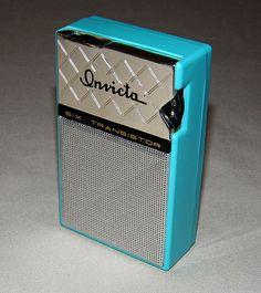 Transistor Radio Collection: Vintage Invicta 6-Transistor AM Radio, Model 300, Nice Aqua Color, Made in Taiwan