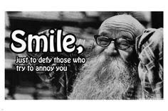 smile just TO DEFY THOSE WHO ANNOY YOU poster 24X36 funny inspirational HOT