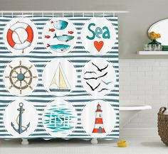 AmazonSmile: Nautical Decor Shower Curtain Set By Ambesonne, Sea Set With Fishes Lifebuoy Gulls And Lighthouse Marine Inspired Maritime Theme, Bathroom Accessories, 69W X 70L Inches, White Red Blue: Home & Kitchen