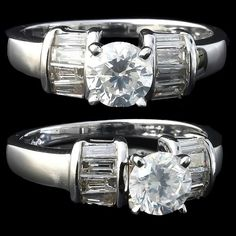 1.20ct VINTAGE ROUND 3STONE GENUINE DIAMOND ENGAGEMENT RING SOLID 14K WHITE GOLD