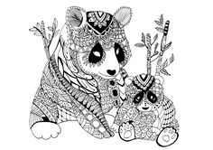 A mama panda Zentangle with its baby. An endangered species., From the gallery : Zentangle, Artist : Celine