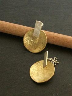 handgemachte Ohrringe - Messing Silber 925 Source by Bijoux Design, Schmuck Design, Jewelry Design, Jewelry Ideas, Brass Jewelry, Sterling Silver Jewelry, Silver Ring, Modern Jewelry, 925 Silver
