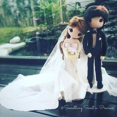 These are the most beautiful amigurumi bride and groom wedding dolls I have seen. (Inspiration). ❤️❤️❤️