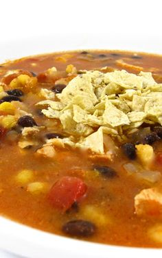 Heavenly Chicken Tortilla Soup. It's so popular on Skinny Kitchen! Each serving has 180 calories, 4 grams fat and 4 Weight Watchers POINTS PLUS. http://www.skinnykitchen.com/recipes/youll-love-our-heavenly-chicken-tortilla-soup/