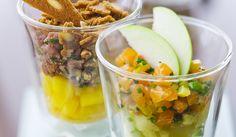 Verrine tartare de canard-noisette et mangue - Verrine de saumon, purée au wasabi et pommes Grany - Duo de verrines chic - Picard