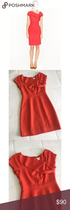 """J Crew Wool Dress! Gorgeous, sexy and sophisticated dress by J Crew. Origami sheath style. The details on this dress are exquisite. Short sleeves, hidden back zipper. Orangeish... 100% wool. Length is 33"""" aprox, pit to pit is 17"""" aprox. Dry clean only.  In LIKE NEW CONDITION! Size 2. J. Crew Dresses Mini"""