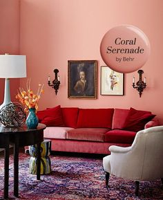 Serenade by Behr Is Our Paint Color Pick! Coral straddles the fence between pink and orange — it's more grown up than a pastel and subtler than orange, but still warm. Pink Bedroom Walls, Pink Bedroom Design, Pink Bedroom Decor, Pink Bedroom For Girls, Bedroom Orange, Pink Bedrooms, Bedroom Colors, Bedroom Designs, Bedroom Ideas