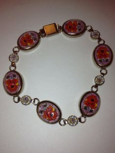 """Italian Micro Mosaic Millefiori Bracelet 8.5"""" Silver Pink Red Flowers Floral Italy 50s Vintage Jewelry Holiday Birthday Anniversary Gift on Etsy, $46.00"""
