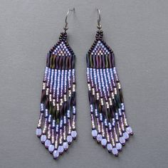 Lavender seed bead earrings   dangle long earrings by Anabel27shop,