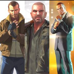 Niko Bellic, Johnny Klebitz and Luis López Gta, Grand Theft Auto 4, Fake Life, Rockstar Games, Game Assets, Photo Archive, Game Art, Videogames, Liberty