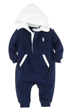Ralph+Lauren+Hooded+Romper+(Infant)+available+at+#Nordstrom
