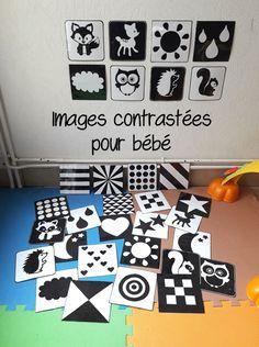 images contrastées pour bébé en noir et blanc, DIY images contrastées, montessori, activité bébé