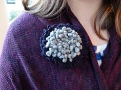Valetine gift. A pretty purple and grey felted wool Chrysanthemum flower brooch by WoolenBlooms on Etsy