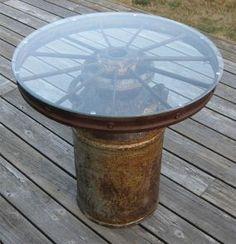 Rusty Wagon Wheel & Milk Can Table - JUNKMARKET Style