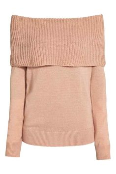 Off-the-shoulder jumper: Jumper in a soft knit with long sleeves, a wide, ribbed top edge that folds down to create an off-the-shoulder look  and ribbing at the cuffs and hem.