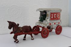 Cast Iron Toy Horse Drawn Ice Wagon by JackandRe on Etsy
