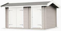 Förråd Givarp 9,8 Detta knuttimrade förråd levereras med två oisolerade dörrar som standard. Önskas en isolerad dörr rekommenderar vi att du köper till en 13x19 dörr och/eller en 8x19 dörr med nyckellås. Golv beställs separat för att tillgodose ditt behov.