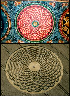 The 'Flower of life' painting on a ceiling at Meenakshi Temple at Madurai, India.     The 'Flower of life' crop formation at Picked Hill, Wiltshire on 13th August 2000