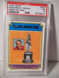 1974 Topps Masterson Trophy Henri Richard PSA EX 5 Hockey Card #243 NHL  #MontrealCanadiens