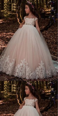 Modest Tulle Scoop Pink Older Flower Girl Dresses With Lace Appliques & Beadings ,FGY0157