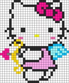 Hello Kitty Cupid perler bead/cross stitch pattern