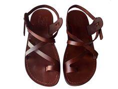 Brown BALBINA Leather Sandals Flip Flop Flats for Men & Women