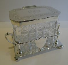 Top Quality Antique English Cut Crystal & Silver Plate Biscuit Box by Hukin & Heath