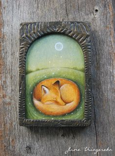 Fox Icon - Original Painting on Wood June Uriagereka  I love how the ferns are burned and carved out... Nice effect.