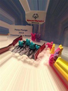 Peep Plunge: Freezing for a Reason, Pioneer Press Peeps diorama contest 2013 Marshmallow Bunny, Peep Show, Easter Peeps, Diorama, Frozen, Special Olympics, Marshmallows, Minnesota, Bunnies