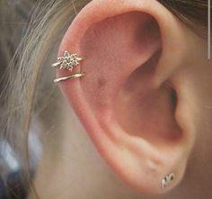 Cartilage & Helix Piercing Ideas, Gold Crystal Hoop Cartilage Piercing