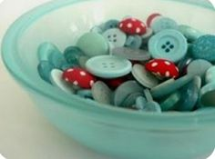 Red And Teal, Red Turquoise, Bright Yellow, Aqua Blue, Button Cards, Button Button, Button Bowl, Pretty Things, Pink Things