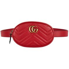 Gucci Marmont Chevron Belt Bag ($895) ❤ liked on Polyvore featuring bags, handbags, gucci purse, red purse, gucci, chevron purses and round handbags