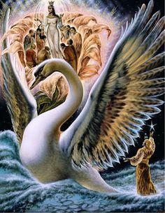 Mythical Swans and the Invisible Sun of the Phoenix – Elder Mountain Dreaming Luxor, Fantasy Paintings, Fantasy Art, Hamsa, Original Paintings, Original Art, Pentecost, Swan Lake, Large Art