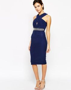 TFNC Pencil Dress With Wrap High Neck And Embellished Waist at asos.com #pencildress #officeday #women #covetme