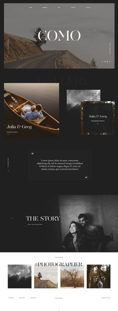 Photography & Videography Website Design Layout, Flothemes, Como Theme, WordPress, Ed Peers photography. Moody, Bold typography. Dark design. Wedding photography.