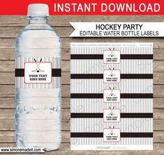 Bottle Label Template Free Lovely Red and Black Hockey Party Water Bottle Labels Template Hockey Birthday Parties, Red Birthday Party, Hockey Party, 8th Birthday, Hockey Birthday Cake, Birthday Ideas, Fete Vincent, Football Water Bottles, Printable Water Bottle Labels
