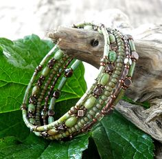 Beaded bracelet stack Memory wire earthy green turquoise