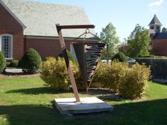 """New Bern Plumb Bob Clay, wood, steel; 80""""x60""""x44"""". Craven County Arts Council Sculpture Park, NC 2010-11"""