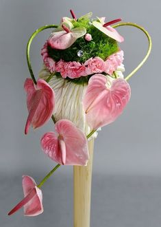 Pink Anthurium flowers with pink and green(green trick) carnations Contemporary Flower Arrangements, Creative Flower Arrangements, Tropical Flower Arrangements, Ikebana Arrangements, Deco Floral, Arte Floral, Flower Show, Flower Art, Cactus Flower