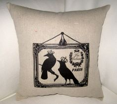 French Crows with Crowns Halloween Shabby Chic  Pillow, Harvest, Autumn,Fall Cushion, Neutral Home Decor, French Country Autumn. $14.79, via Etsy.