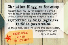Christian Bloggers Bootcamp (CBB) is a blogging course founded on Biblical teaching. It really is possible to impact people for Christ through your blog without compromising your integrity or your wallet.