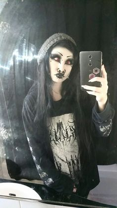 """killergothfromouterspace: """"Sometimes it can be fairly obvious why I have little to no friends. Punk Guys, Alternative Makeup, Magic Women, Piercings For Girls, Goth Women, Goth Beauty, Goth Makeup, Punk Outfits, Lolita"""