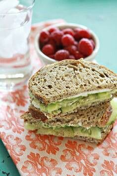 Avocado & Cucumber sandwich with goat cheese  Replace goat cheese with hummus or plain Greek yogurt