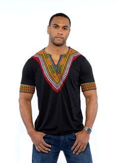 Men's African Print Dashiki T-Shirt (Black)