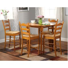 Amusing 5 piece counter height dining set oak