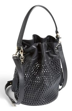 { Loeffler Randall 'Industry' Perforated Leather Bucket Bag }