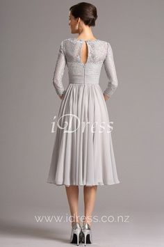 Tea Length Grey Vintage Lace Chiffon A-line Cocktail Dress with Sleeves - VictoriasQueen. Mob Dresses, A Line Prom Dresses, Evening Dresses, Dresses With Sleeves, Casual Dresses, Elegant Dresses, Summer Dresses, Mother Of Bride Outfits, Mother Of Groom Dresses