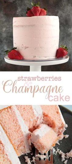 The most decadent Pink Champagne cake recipe ever. The most decadent Pink Champagne cake recipe ever. Just Desserts, Delicious Desserts, Dessert Recipes, Pink Champagne Cake, Strawberry Champagne, Strawberry Cake Recipes, Strawberry Cake Decorations, Savoury Cake, Cookies Et Biscuits